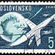 Postage stamp Czechoslovakia 1963 Rockets and Sputniks Leaving E — Стоковая фотография