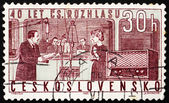 Postage stamp Czechoslovakia 1963 Studio and Radio — Stock Photo