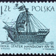 Postage stamp Poland 1963 14th Century 'Holk', Ancient Ship — Foto de stock #11914052