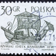 Foto Stock: Postage stamp Poland 1963 3rd Century Merchantman, Ancient Ship