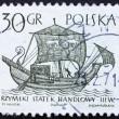 Postage stamp Poland 1963 3rd Century Merchantman, Ancient Ship — Stock Photo
