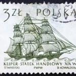 Postage stamp Poland 1964 Dutch Merchant Ship, Sailing Ship — Stock Photo