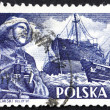 Postage stamp Poland 1956 Fisherman and S.S. Chopin — Stock Photo