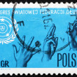 Postage stamp Poland 1967 Sign Language and Emblem — Stock Photo