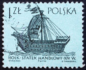 Postage stamp Poland 1963 14th Century 'Holk', Ancient Ship — Stock Photo