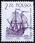 Znaczek polska 1964 holenderski kupiec statku, żaglowca — Zdjęcie stockowe