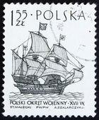 Postage stamp Poland 1964 Polish Warship, Sailing Ship — Stock Photo