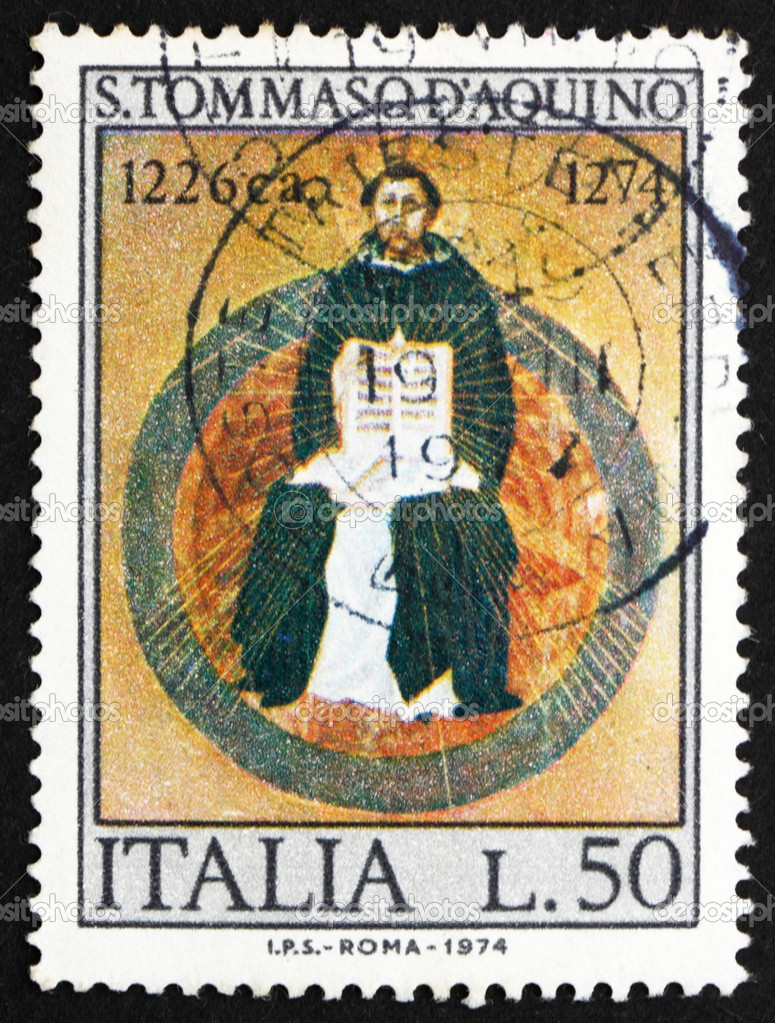 ITALY - CIRCA 1974: a stamp printed in the Italy shows St. Thomas Aquinas, by Francesco Traini, Scholastic Philosopher, 700th Death Anniversary, circa 1974 — Stock Photo #11931612