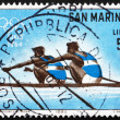 Postage stamp San Marino 1964 Dual Rowing, 18th Olympic Games, T - Stock Photo
