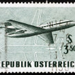 Postage stamp Austria 1968 Twin-engine Jet Airliner — Stock Photo