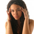 Headache at the young girl - Stock Photo