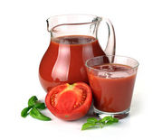 Jug, glass of tomato juice and fruits — Stock Photo