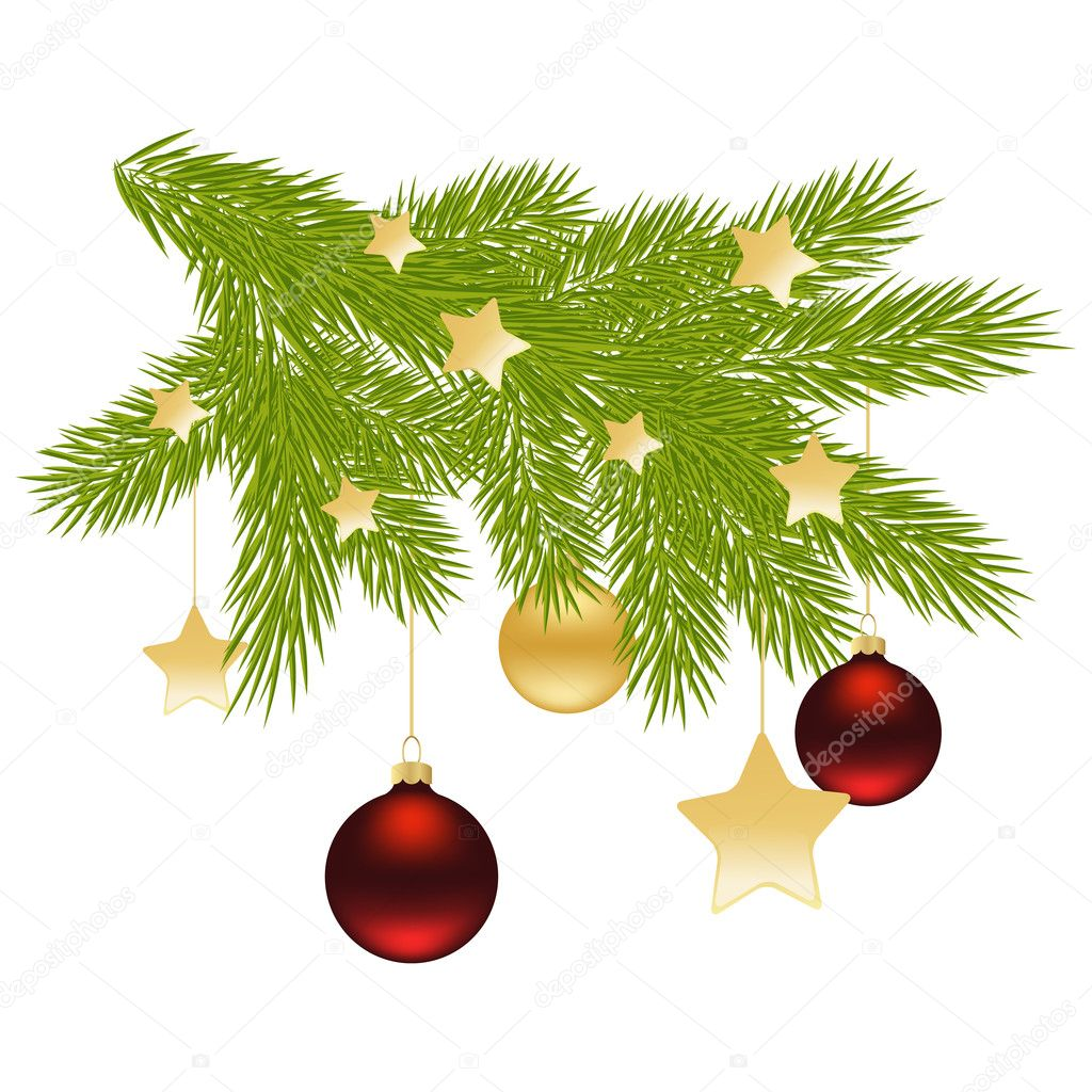 Christmas tree branch with balls, stars, candles. Vector illustration. — Vektorgrafik #12019348