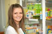 Happy cheerful pharmacist — Stock Photo