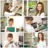 Collage. Doctor at pharmacy — Stock Photo