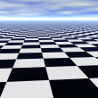 Royalty-Free Stock Photo: Abstract infinite chess floor and cloudy sky