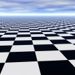 Stock Photo: Abstract infinite chess floor and cloudy sky