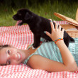 Girl and Puppy — Stock Photo #10820943