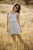 Girl in Hayfield — Stock Photo