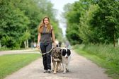 Happy girl walking with dogs — Stock Photo