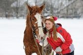Smiling girl with horse — Foto Stock