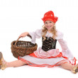 Pretty girl as Little Red Cap on white background — Stock Photo #12045661