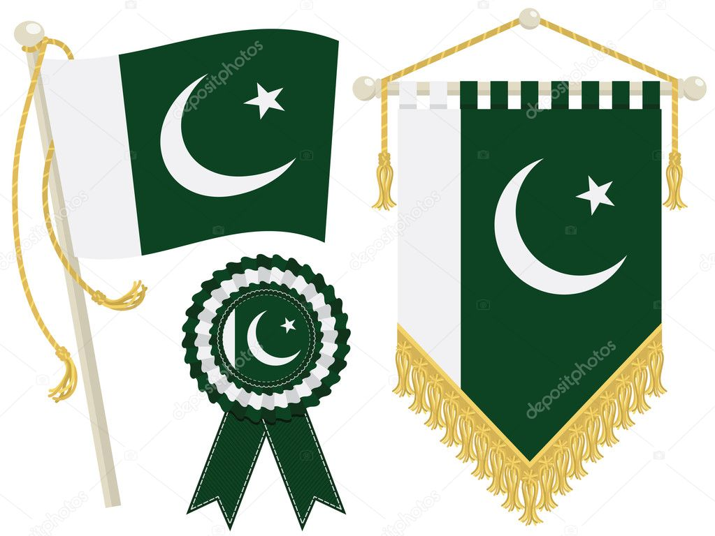 Pakistan flag, rosette and pennant, isolated on white — Stock Vector #11691296
