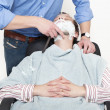 Man Being Shaved With Cut Throat Razor — Stock Photo #10949575