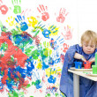 Getting finger paint — Stock Photo