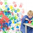 Stock Photo: Getting finger paint