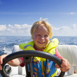 Young helmsman — Stock Photo
