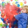 Messing about with finger paint — Stock Photo