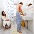 Sharing a bathroom — Stock Photo