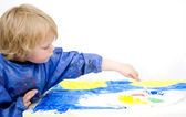 Painting with blue poster paint — Foto Stock