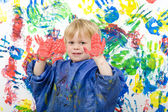 Hands with paint — Stock Photo