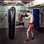 Punching boxer — Stock Photo