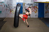 Knee kick — Foto Stock
