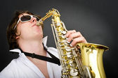 Playing the Saxophone — Stock Photo