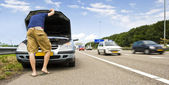 Mortorway car trouble — Stock Photo