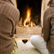 Enjoying the fire — Stock Photo