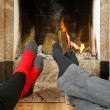 Stock Photo: Warming by fire