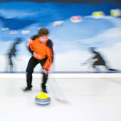 Curling brooming — Stock Photo