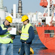 Talking Harbor workers — Stock Photo #11894689