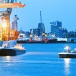 Busy Seaport at Twilight — Stock Photo