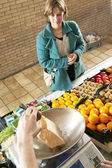 Greengrocer service — Stock Photo