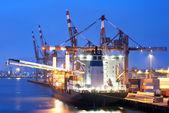 Docked Cargo ship — Stock Photo