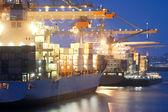 Actividad de puerto nocturno — Foto de Stock