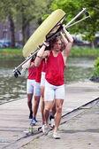 Rowing team — Stock Photo