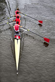 Coxed four from above — Stock Photo