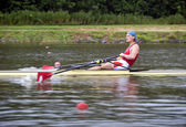 Men Single Rowing — Stock Photo